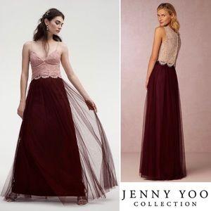 Jenny Yoo BHLDN Louisa tulle maxi skirt Cabernet